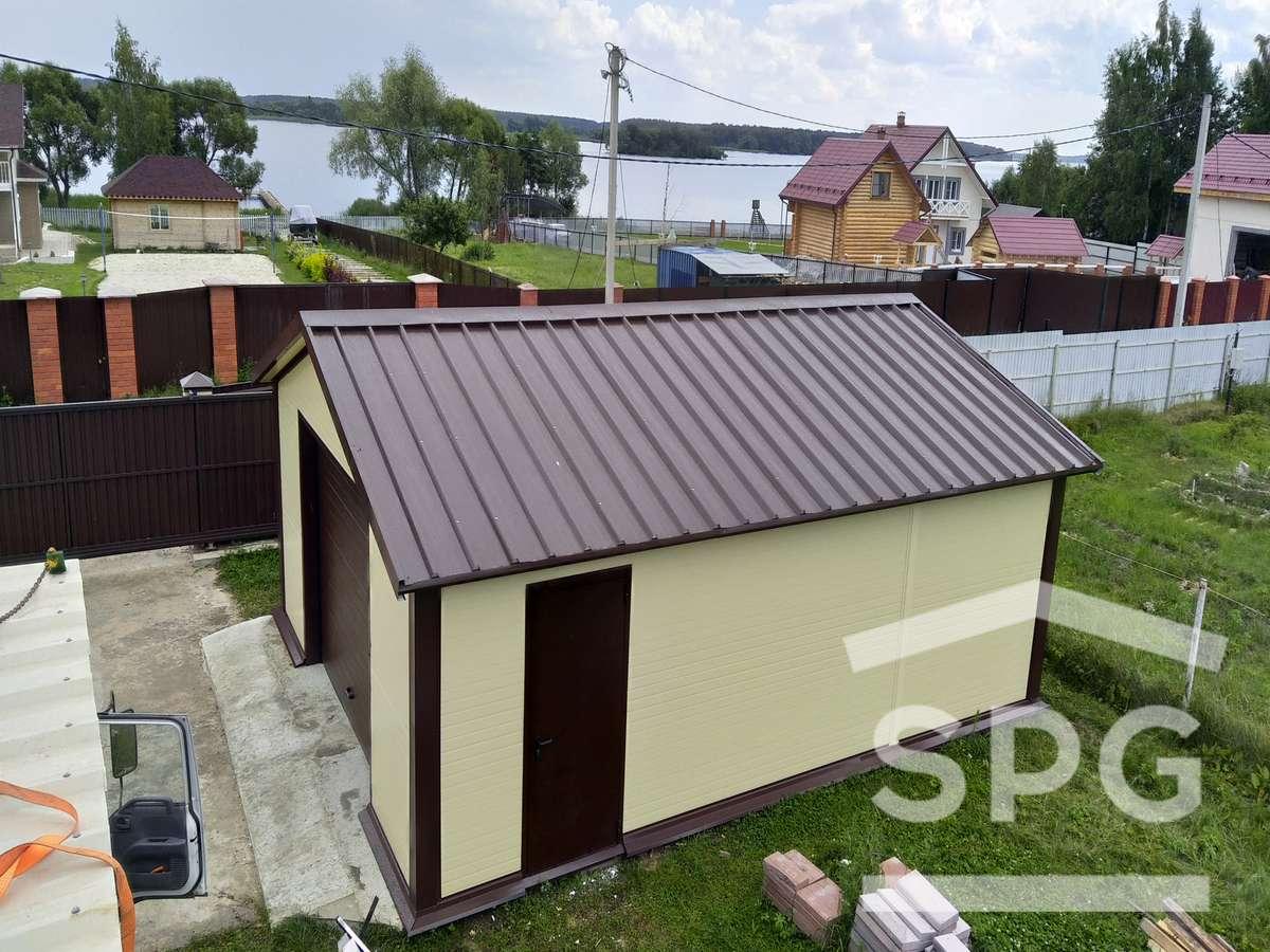 Гараж 6х8 с двускатной крышей и хозблоком