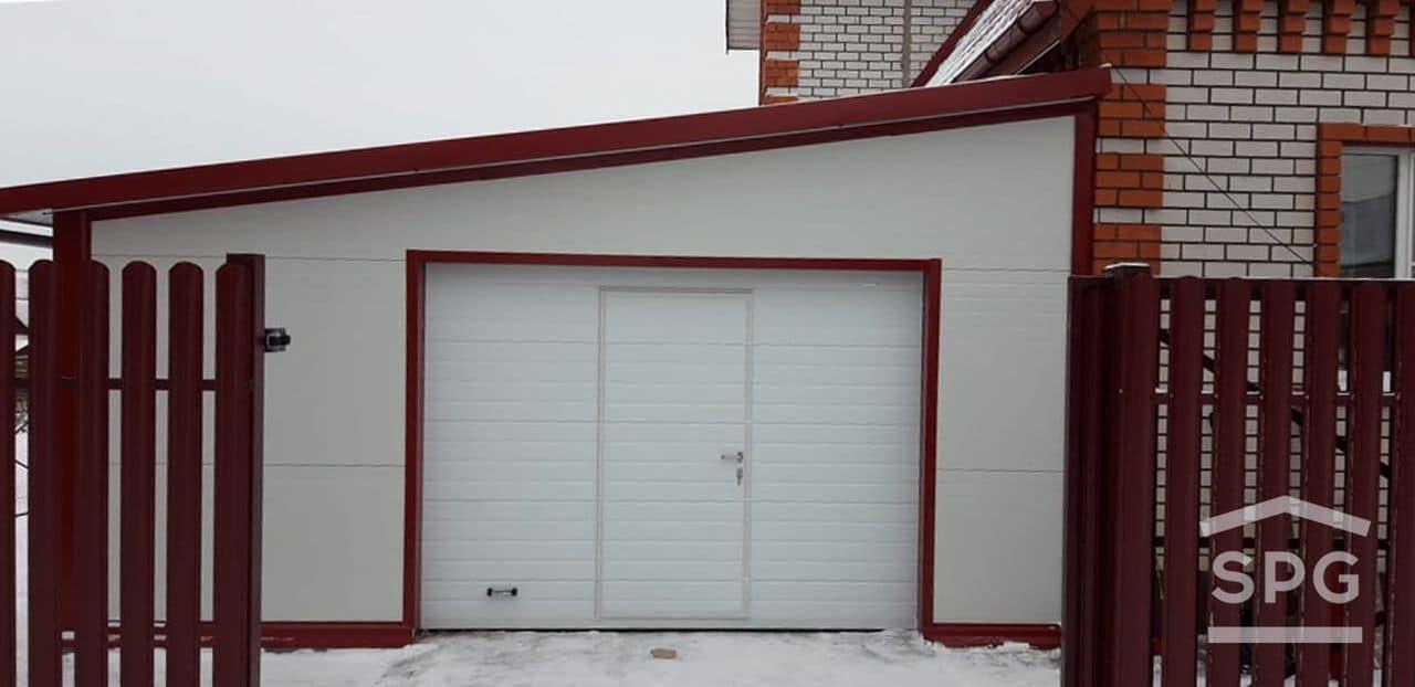 Пристроенный гараж на 1 машину со скатом 6х8