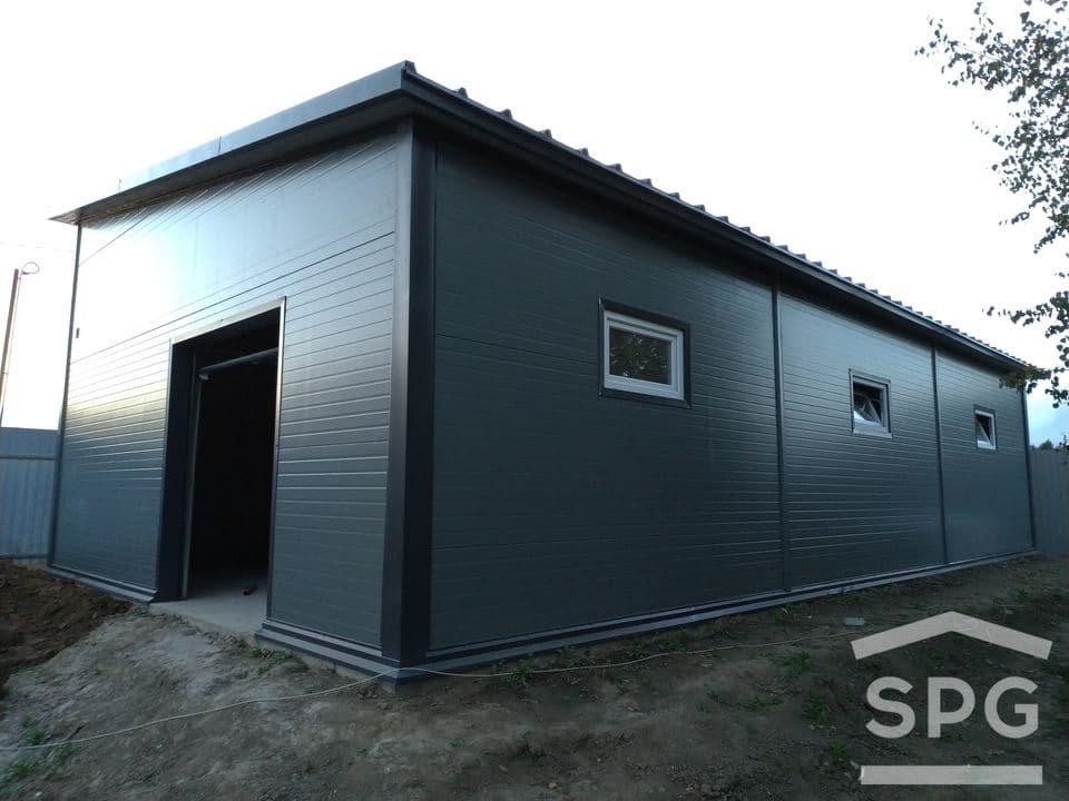 Большой гараж на 3 машины с односкатной крышей 13х7