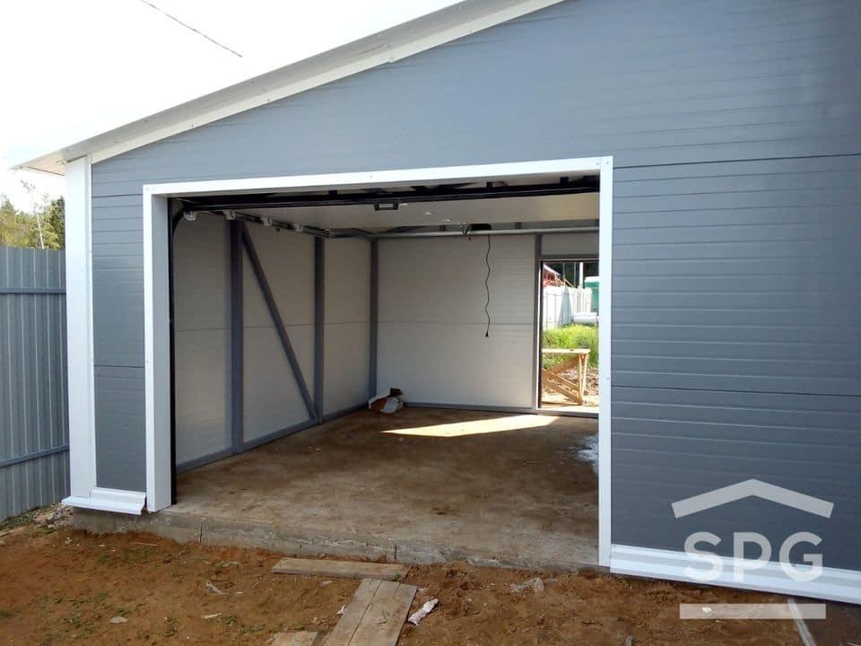 Пристроенный гараж с косой крышей 4,5x4,5