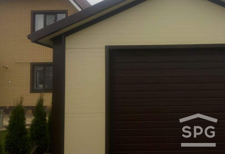 Гараж на 1 машину с двускатной крышей и хозблоком 4,5х8